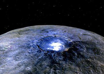 Representación del cráter Occator del planeta enano Ceres