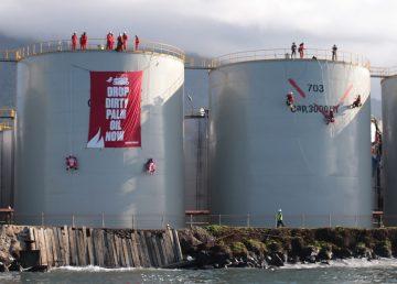 Activistas de Greenpeace escenifican protesta en Bitung