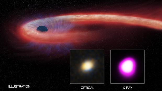 Recreación artística de la erupción de un agujero negro después de haber engullido una estrella. / SOPHIA DAGNELLO, NRAO/AUI/NSF