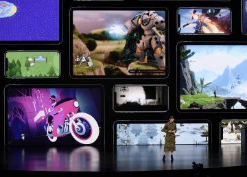 Apple sostiene el evento de lanzamiento de producto en Cupertino